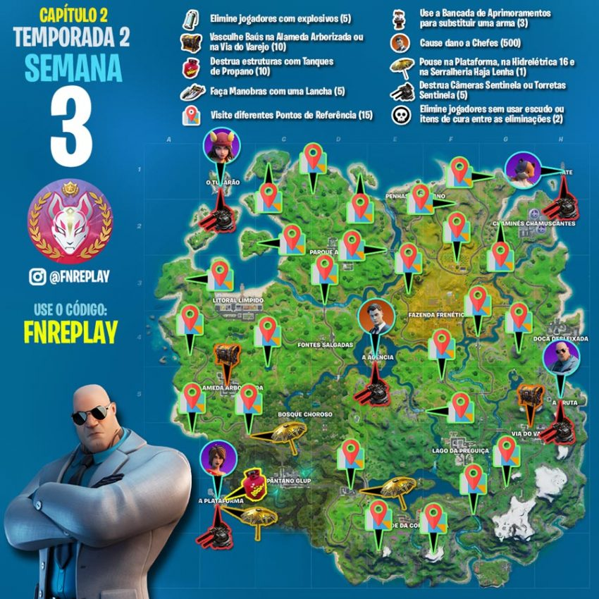 Fortnite desafios Semana 3 Temporada 2