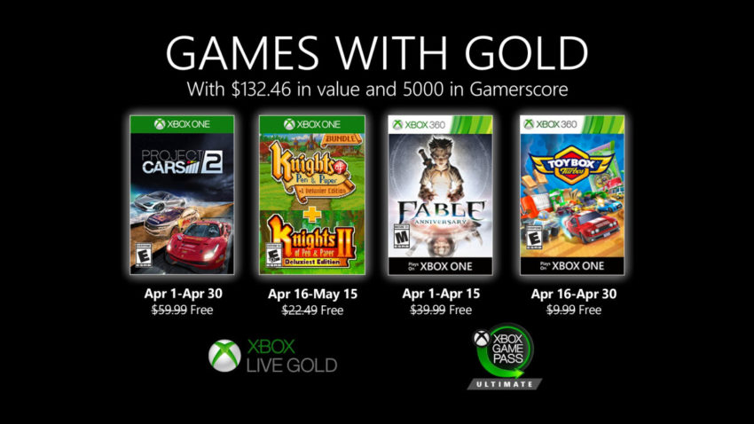 Jogos gratuitos da Games with Gold de abril de 2020