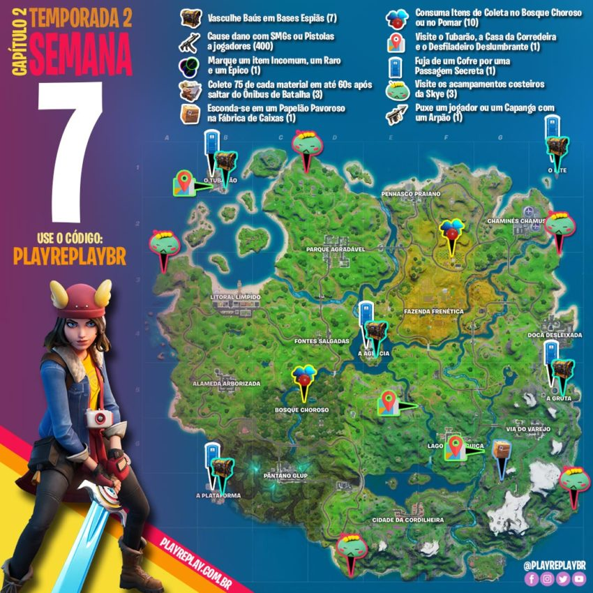 Fortnite Battle Royale desafios semana 7 skye
