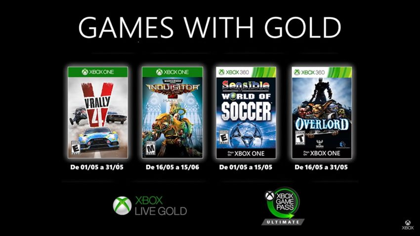 Xbox Live Games With Gold Maio 2020
