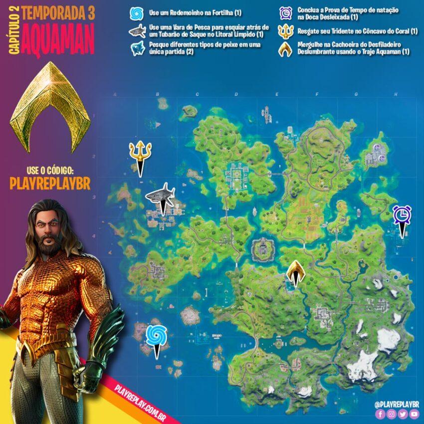 Fortnite: Desafios do Aquaman