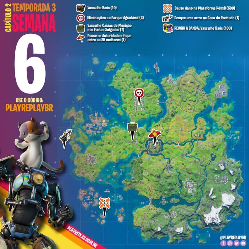 Fortnite Desafios da Semana 6 da Temporada 3 Capítulo 2