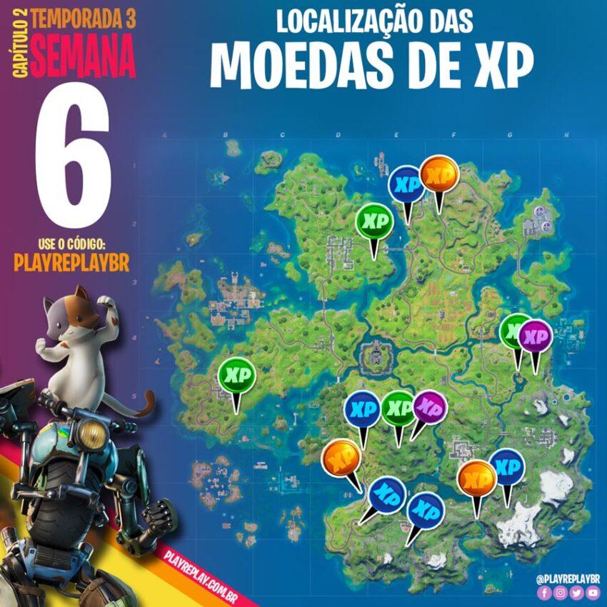 Fortnite localização das Moedas de XP