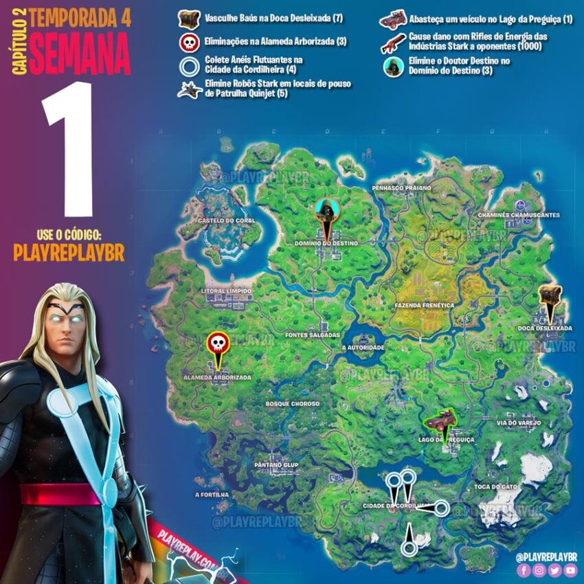 Fortnite Temporada 4 Desafios Marvel