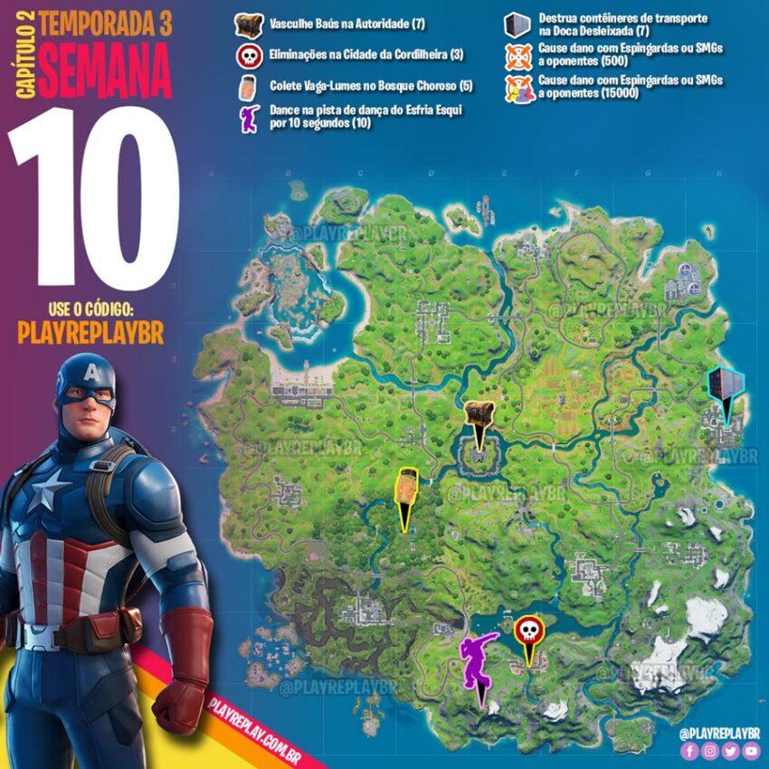 Fortnite Desafios da Semana 10 da Temporada 3 Capítulo 2