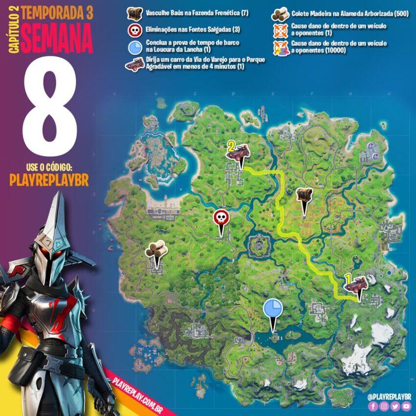 Fortnite Desafios da Semana 8 da Temporada 3 Capítulo 2