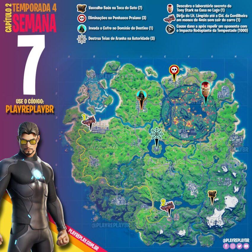 Fortnite Temporada 4 Desafios Marvel