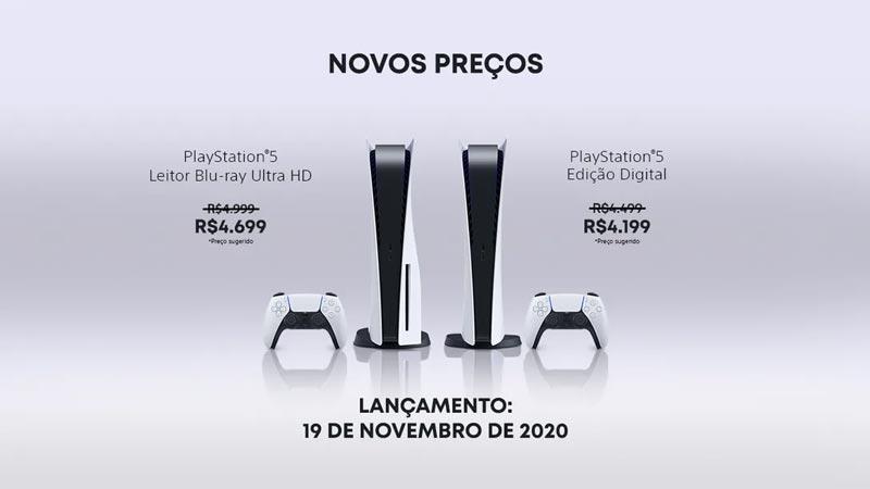 Novos preços do PlayStation 5